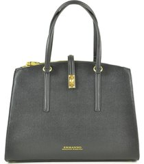 ermanno scervino black eco leather medium satchel bag
