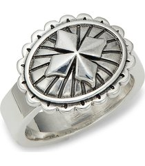 king baby studio men's sterling silver mb cross concho ring - size 10