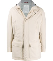 brunello cucinelli hooded mid-length parka - neutrals