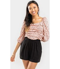 abby ruched blouse - blush