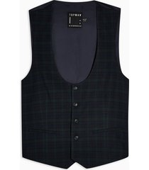 mens navy and green check super skinny fit suit vest