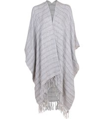 plaid open poncho