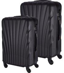 conjunto de mala de viagem em abs fuseco qlink 12 cadeado embutido rodas 360º 2 peças p/m preta preto