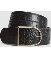 reiss isabelle - leather croc patterned waist belt in black, womens, size l