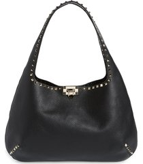 valentino garavani rockstud leather hobo bag - black