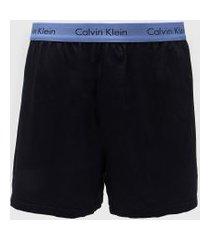 samba canção calvin klein underwear logo azul-marinho