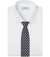 cravatta su misura, lanieri, paisley seta blu, quattro stagioni | lanieri