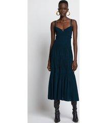 proenza schouler smocked bustier dress 00568 petrol green/blue 2