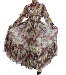 bloemen zijden lange jurk