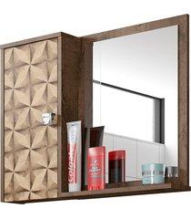 espelheira c/ armário gênova madeira rústica móveis bechara