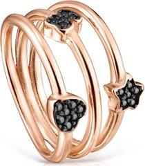 anillo motif de plata vermeil rosa con espinelas - tous