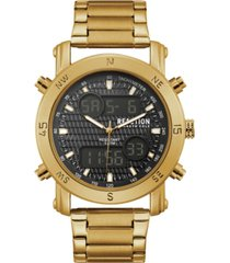 kenneth cole reaction men's analog-digital sport gold-tone stainless steel bracelet watch 45mm