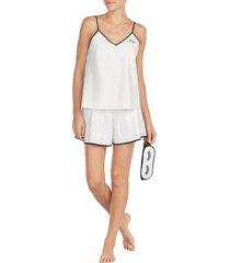 women's kate spade new york mrs pajamas & sleep mask, size large - ivory