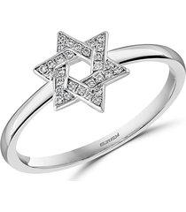 effy eny women's sterling silver & diamond star of david ring - size 7