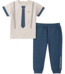 calvin klein baby boys 2-pc. suspend & necktie t-shirt & pants set