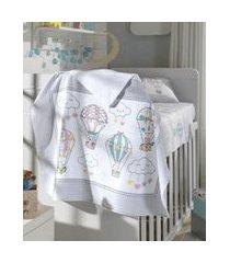 toalha de banho infantil döhler balões com bichinhos e capuz branca