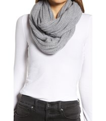 women's halogen solid cashmere infinity scarf, size one size - grey