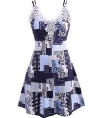 plus size guipure lace trim patchwork print dress