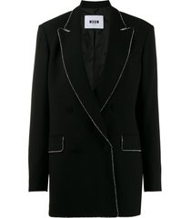 msgm crystal-embellished oversized blazer - black