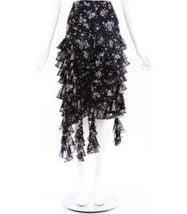 michael kors collection black floral silk ruffle skirt black/white/floral print sz: l