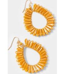 tambria crystal trim teardrop earrings in mustard - mustard