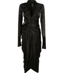 rick owens long-sleeved asymmetric wrap dress