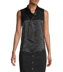 calvin klein women's tiger-print sleeveless top - black - size s