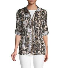 linen snake print drawstring jacket