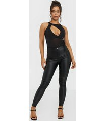 missguided high waisted coated skinny jeans skinny