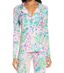 women's lilly pulitzer notched collar pajama top, size x-large - blue
