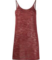alysi semi-sheer scoop neck vest top - red