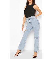 distressed jeans met split zoom en hoge taille, lichtblauw