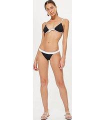 tie front triangle bikini top - monochrome