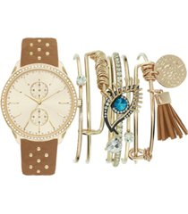 jessica carlyle women's beaded cognac faux leather strap watch 38mm gift set