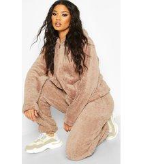 borg zip through oversized hoodie, taupe