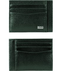 men's boss leather card case - green