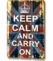 keep calm & carry on - drewniana tablica z napis