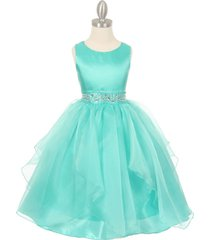 aqua sleeveless taffeta flower girl dresses birthday bridesmaid wedding pageant
