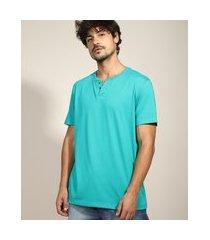 camiseta masculina básica manga curta gola portuguesa verde água