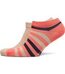 th men duo stripe sneaker 2p ankelstrumpor korta strumpor rosa tommy hilfiger