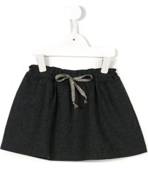 babe and tess drawstring houndstooth skirt - grey