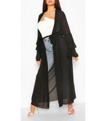 maxi kimono met gelaagde mouwen en ceintuur, zwart