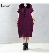 zanzea mujeres elegantes del vestido largo del o-cuello de manga larga bolsillos sólidos ocasionales flojas de la vendimia larga vestidos tamaño más 5xl claret -rojo
