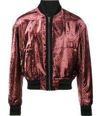 haider ackermann metallic red tiziano velour bomber jacket