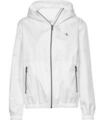 large ck logo hooded sommarjacka tunn jacka vit calvin klein jeans