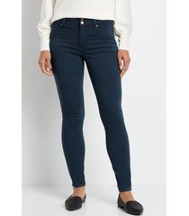 maurices womens high rise navy double button jegging blue