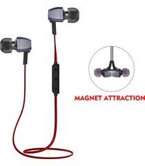 audífonos bluetooth deportivos, m6 handfree estéreo inalámbrico bluetooth v4.1 corriendo magnético cancelación de ruido auricular con micrófono para sony iphone samsung