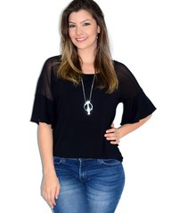 blusa up side wear tule transparente preta