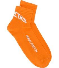 heron preston logo print socks - orange