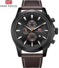 reloj para hombre/correa de piel/ mini focus / 0082g / reloj-negro